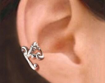 Empire feather ear cuff Sterling Silver earrings feather jewelry feather earrings Sterling silver ear cuff men women ear clip earcuff C-086