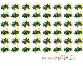 Riding Lawn Mower and Push Mower Stickers For Any Planner