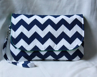 Diaper Clutch - Navy Blue and White Chevron with Green or Pink Lining