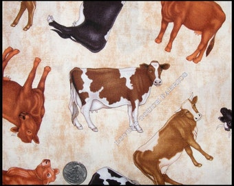 """Country RJR Tossed Farm Animals Cows Cotton Fabric 1/2 Yard 18"""" x 44"""""""