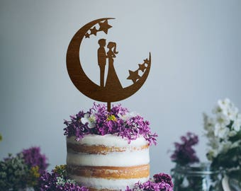 Engagement Cake Topper Wedding Cake Topper Bride Groom Cake Topper Engagement Cake Decoration Cake Topper Moon Silhouette Cake Topper Wood