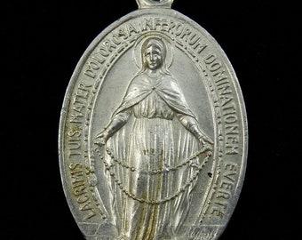 Vintage Medal Large Aluminum Jesus Mary Mother France