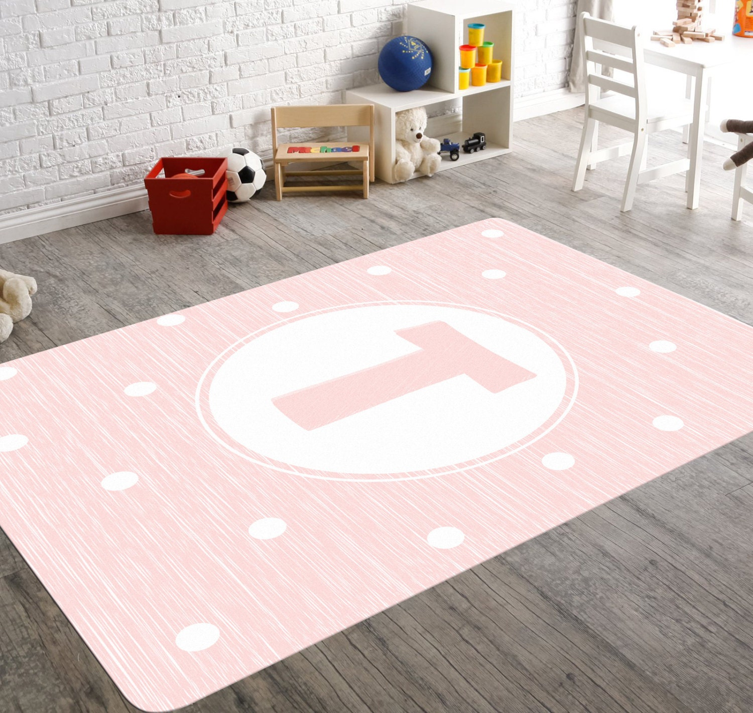 Pink Nursery Rug Monogram Rug Personalized Rug Girl Nursery