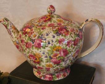 1930's Royal Winton Grimwades English Chintz Teapot - Summertime Pattern