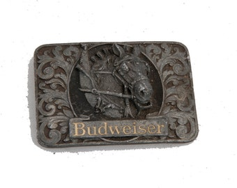 Vintage budweiser belt buckle heavy piece horse