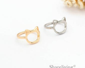 2pcs Silver, Golden Cat Ring, Nickel Free, High Quality Brass Kitty Rings
