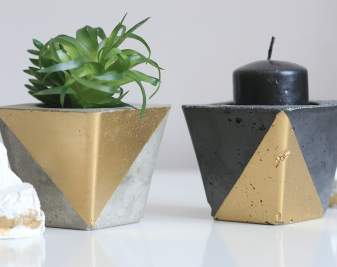SET of 2 Concrete Candle Holders | Concrete Planter | Grey & Gold | Urban | Industrial