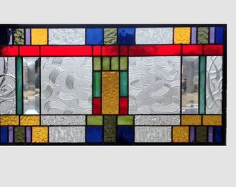 Arts and crafts stained glass panel window hanging amber stained glass window panel prairie mission style 0337 19 1/2 x 10 1/2