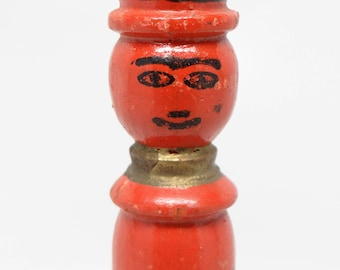 Antique Czechoslovakia Noise Maker, Vintage Painted Wooden Whistle, Jack-o-lantern Face