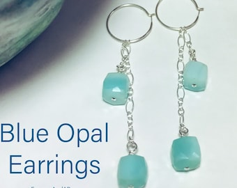 Blue Opal Earrings, Opal and Sterling Silver,Dangle,Drop Earrings