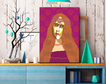 """Portrait """"George"""" - Tribute To George Sand  FRAMED ART, Literature, iconArt, Personalized Gift, Name, Book Lover, Gift, For Women, For Men"""