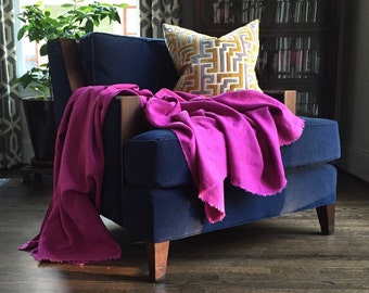 XL Magenta Linen Throw Blanket - Cheerful Bedding - Made to Order in the USA