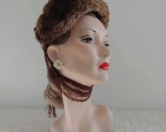 Vintage 1940's Brown Fur Halo Hat with Wimple/Ties | Vintage 1940's hat |