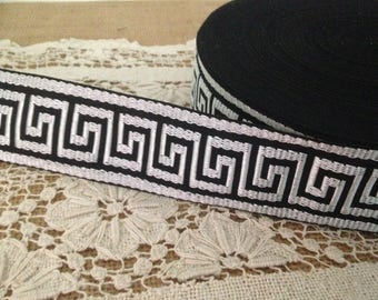"1-3/4"" Black Greek Key Trim, Greek Key Jacquard Trim, Greek Key,45 mm Woven Jacquard Greek Key Trim , Greek Key, Home Decor Trim"