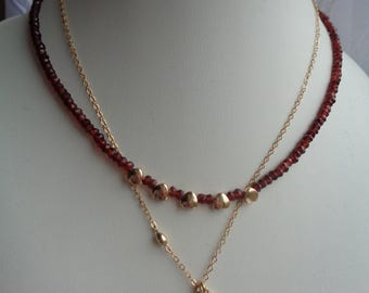 Necklaces with Garnet in 585 gold filled, twin-set!