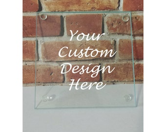 Set of 4 Custom Glass Coasters - Custom Glassware -Personalized Glass Coasters -Wedding Gift - Anniversary Gift -Custom Home Decor