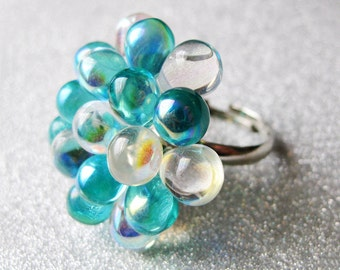 Aquamarine Glass Cluster Ring - Water Berry Ring Limited Edition -  Funky cocktail ring, Aqua bold ring, Turquoise & white Statement Ring
