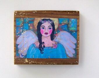 Folk Art Angel Print Woodblock Encaustic  print from original painting
