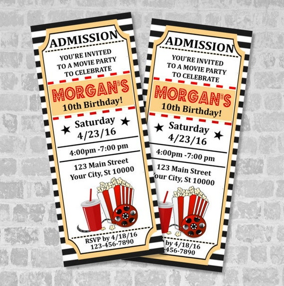 Top Movie Ticket Birthday Party Invitation Custom Vintage Style IU03