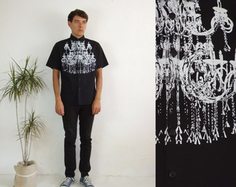Men's black chandelier printed shirt