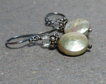 Green Pearl Earrings June Birthstone Coin Pearls Green Amethyst Prasiolite Earrings Oxidized Sterling Silver Gift for Wife