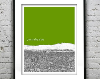 Cochabama Bolivia Poster Print Skyline Art South America Item S5020