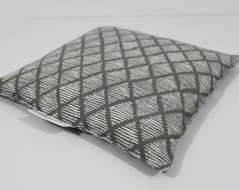 Large Square Rice Bag - 9 x 9 inches, hot or cold therapy pack, rice heating pad, foot warmer, gray and cream diamond pattern