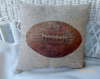Football Pillows - Burlap pillows - Vintage sports pillows - Boys room decor - Fathers Day gift - Football decor - gift for him