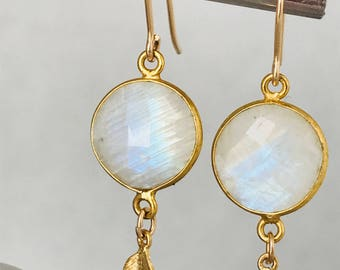 Moonstone Earrings Gold Leaf Earrings Gemstone Earrings Boho Earrings June Birthstone Summer Earrings June Birthday June Gift December
