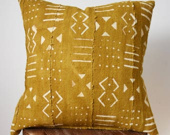 "18"" x 18"" Yellow Pattern Mud Cloth Pillow Cover"