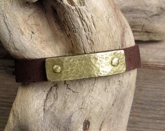 Hand Hammered Brass and Leather Slab Bracelet