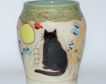 Pottery Cat Vase / Black Cat