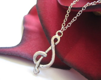 Music Note Necklace Treble Clef Silver Charm Jewelry 208