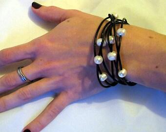 Multi purpose 60 inch FW pearl & leather Wrap necklace/ choker/ bracelet, June birthstone