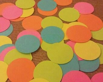 Neon Confetti Rainbow Birthday Party Table decor Retro 80's decorations