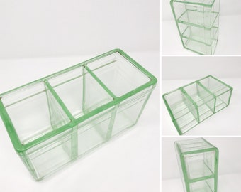 Vintage Glass Car Battery, Green Three Compartment Auto Battery Box, 1930's Car Parts, Battery Jar