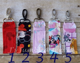 Disney chapstick key chain / lip balm holder / Carmex carrier / Lip balm clip on/ Mickey Mouse / mini lighter keychain / gift for her / sale