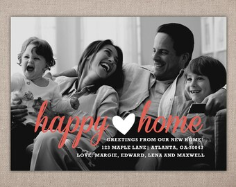 HAPPY HOME - Printable Moving Announcement, We have Moved, Modern Address Change Card, Address Change Photo Card, Modern Address Change, DIY