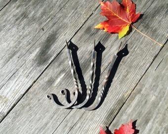 Set of 3 Wall Hooks- Hand Forged - Cast Iron Hook - Wrought Iron - Hat Hook - Towel Hook - Rustic Home Decor - Key Hook - Blacksmith Made