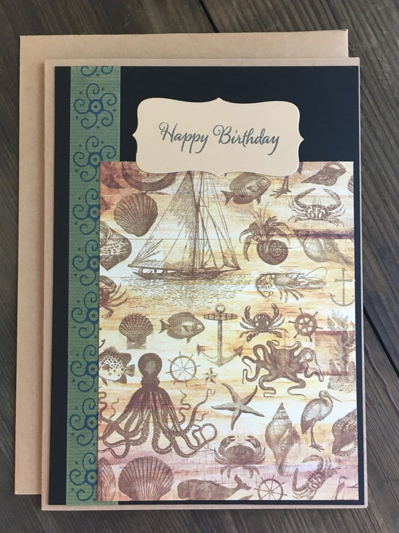 Happy Birthday Greeting Card Blank Inside 5x7 Nautical