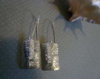 Sterling Silver Rectangle Shaped Earrings
