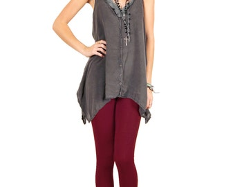 Ox Blood Wine Red Stretch Cotton Leggings