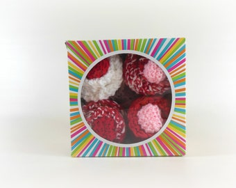Baby Cupcakes-4 Double Knit Washcloths and 2 Sets of Newborn Baby Booties in Red, White, & Pink