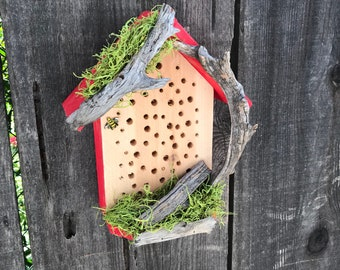 Rustic Mason Bee House With Natural Driftwood Bee's Cozy Hotel For Bees To Pollinate Flowering Garden Bug Insect Houses Item #617326343
