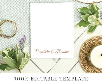 Printable Stationery Template, Printable Thank You, Word or Pages, MAC or PC, Pretty Script, Instant DOWNLOAD