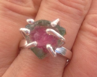 Watermelon Tourmaline Sterling Silver Ring Size 9.5