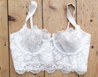 Bridal lace bra in white french calais lace  - longline bralette - soft cup bra - lacy bra - soft bra - lace bras -  lace lingerie bra -