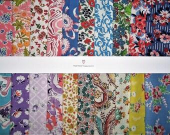 """Vintage Feedsack Fabric 20 ~ 5""""x 5"""" Square Charm Bundle No Duplicates"""