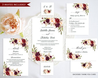 Wedding Invitation Template,Marsala Wedding Invitation Set,Floral Wedding Invitation Template,Wedding Invitation Set Printable,PDFInvitation