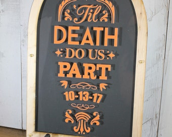Personalized Guest Book/Top Drop Frame/Alternative Guest Book/Tombstone/Wood Shapes/Alternative Guest Book/Guest Book/Halloween Wedding